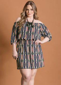 Vestido Decote Ciganinha (Étnico) Plus Size #PlusSize