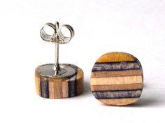 Wood Earrings  Skate Art  Made in Canada por SecondShot en Etsy, $12.00