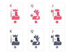 King Queen Jack Playing Cards designed by Le Khuong. Cards On The Table, Deck Of Cards, Card Deck, Playing Cards Art, Playing Card Design, Zoo Logo, Game Card Design, King Card, Card Ui