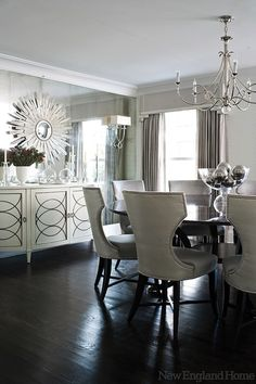 Gorgeous! New England Home: Morgan Harrison Home - Amazing contemporary dining room with Visual Comfort lIghting ...