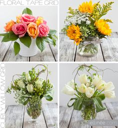 Easy floral tape grid and curly willow nest for flower arranging