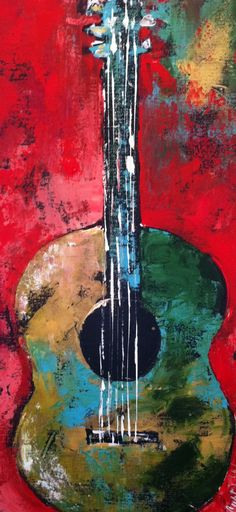 20x40. Guitar red