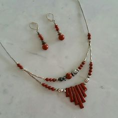 *Hand Crafted Stone Bead Set Indian Craft Fair Rusty Red Color (real) Stone Bead set In great condition. SORRY NO TRADES! THANK YOU! Jewelry