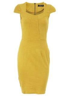 Dorothy Perkins- Yellow Square Neck Ribbed Dress