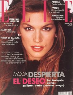 Cindy Crawford Magazine Covers | Cover of Elle Spain with Cindy Crawford - Magazine - December 1994 ...