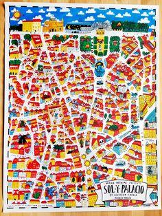 Map of Madrid -  sol y palacio. Ricardo Cavolo