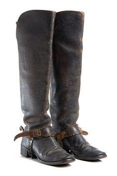 Leather boots, part of Charleston Light Dragoons uniform, c. 1886.  Worn by Capt. Samuel Gaillard Stoney. Charleston Museum.