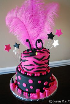 hot pink and black zebra baby shower cake by everett edibles