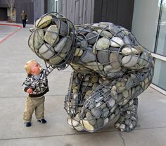 Celeste Roberge - Rising Cairn (2010) - 4,000 pounds of granite, welded steel, galvanized