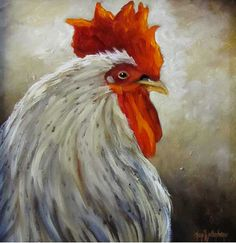 Original Oil Painting Rooster VI Framed Canvas by ChatterBoxArt