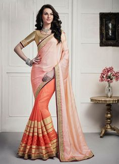 Browse our latest collection of designer saree. Order this brilliant embroidered, lace and zari work faux chiffon and viscose half n half saree. Party Wear Sarees Online, Wedding Sarees Online, Buy Sarees Online, Saree Wedding, Bollywood Saree, Bollywood Fashion, Bollywood Actress, Indian Dresses, Indian Outfits