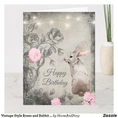 Vintage Style Roses and Rabbit BIG Birthday Card Big Birthday Cards, Unique Birthday Cards, Easter Greeting Cards, Custom Greeting Cards, Happy Birthday Vintage, Rabbit Garden, Vintage Fashion, Vintage Style, Easter Holidays