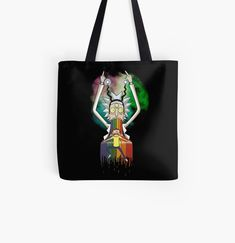 'Peace among worlds - Rick & Morty (TM) ' Tote Bag by MonoMano Cotton Tote Bags, Reusable Tote Bags, Unique Bags, Rick And Morty, Poplin Fabric, Pouches, Cat Lovers, Shopping Bag, Geek Stuff