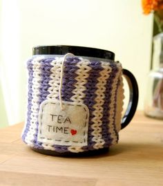 Tea Time Mug Cozy Knitted - cute idea, great for a gift. (this links to an Etsy seller, not a pattern)