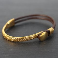 Chiang Mai Bracelet - 24k Gold and Sterling Silver Dipped Leather Cuff – MeiElizabeth