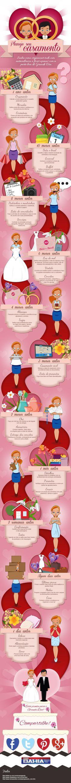 Planejando o casamento: http://www.blogdocasamento.com.br/cerimonia-festa-casamento/planejamento-festa-cerimonia-casamento/infografico-planeje-o-seu-casamento/