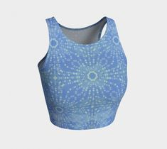 Boho starburst pattern lines sky blue crop top is perfect for your yoga session, the beach or dancing. Printed crop tops pair with our yoga leggings and shorts. Athletic Crop Top, Dance Routines, Blue Crop Tops, Yoga Session, Yoga Leggings, Activewear, Dancing, Sky, Boho