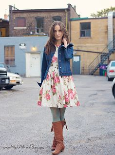 Young Fashion, Teen Fashion, Womens Fashion, Green Tights, Gap Outfits, Gap Dress, Denim Outfit, Dress With Boots, Style Guides