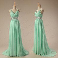 Mint green chiffon long prom/bridesmaid/party dress sheath floor length/simple/ on Etsy, £71.42