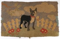 American Hooked Rug With Dog