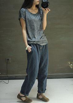 Scuri blu sciolti lungo lino pantaloni casual di FashionGD su Etsy