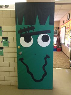 My Frankenstein door for Halloween!! & Frankenstein door decoration | Halloween by Deb Poehlmann ...