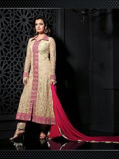 #Designer Salwar Kameez#Cream & Pink #Indian Wear#Desi Fashion #Natasha Couture#Indian Ethnic Wear#Indian Suit#Anarkali