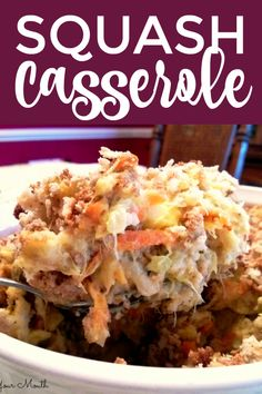 A delicious squash casserole recipe made with herb stuffing, sour cream and cream of chicken soup. Thanksgiving Side Dishes, Thanksgiving Recipes, Holiday Recipes, Dinner Recipes, Thanksgiving Casserole, Dinner Ideas, Southern Squash Casserole, Yellow Squash Casserole, Herb Stuffing