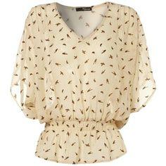 Cream Bird Sheer Top