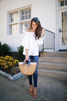 bow back top , I also ordered this one that's on sale! // Hudson jeans wedge sandals (obsessed!) // straw bag Baubleb...