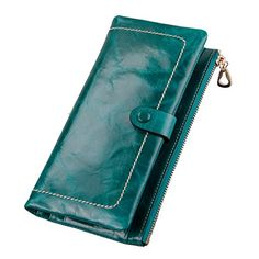 Yafeige Womens Cow Leather Wallet Zipper Clutch Purse credit card holder Money Clip (Green). *Material: leather (Top grain oil wax cowhide). *Commodity Structure: 10 Credit card slots and 1 photo slot, 3 full long pockets, 1 zippered pocket. *Characteristics: Snap closure. Stylish simplicity 2 Bifold leather wallet, Use High-quality leather And hardware accessories, smooth zipper. Can be easily put in the mobile phone, money, bank card, notes. 8 colors to choose from, each color is very...