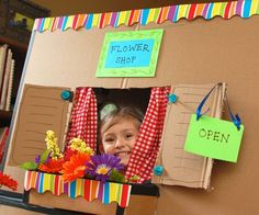 Build a Flower Shop cutest little flower shopcutest little flower shop Art Activities For Kids, Spring Activities, Diy For Kids, Crafts For Kids, Preschool Garden, Florist Logo, Dramatic Play Centers, Play Shop, Cardboard Toys