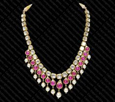 Stunning polki, pearl and ruby necklace. Tempus Gems
