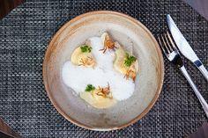 Salt Cod Ravioli, Lardo, Braised Artichokes, Artichoke Purée, Crispy Artichoke, and Cod Cream | StarChefs.com