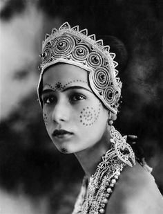"Seeta Devi - Devi is an Anglo-Indian silent film star and was the first Bollywood actress to kiss on screen in 1929 in the film ""A Throw of Dice."""