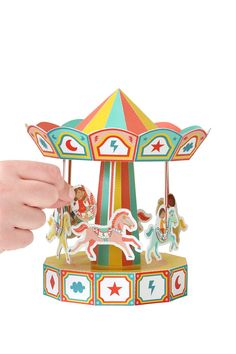 Carousel Paper Toy Movable Paper Toy DIY Paper Craft by pukaca