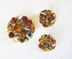 Weiss RARE Jewelry Brooch Earrings Smoky by RomantiqueTouch