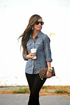 Chambray button up. Already have a light chambray shirt, but would like a darker one to add to my closet