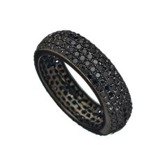 Socheec Oxidized White Gold Black Diamond Cigar Eternity Band ($1,628) ❤ liked on Polyvore
