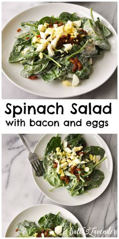 Delicious, even Anthony and Cora loved it. You will love this spinach salad with bacon and eggs and a rich, garlicky dressing! No, you won't want it for breakfast. Bacon Spinach Salad, Spinach Salad Recipes, Spinach Salad With Bacon, Salad With Eggs, Healthy Life, Healthy Eating, Plat Simple, Clean Eating, Cooking Recipes