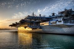 The USS Midway at sunset, CA