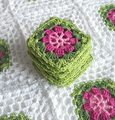 Granny Square Blanket - I love the colours of these squares, would look great in the little ladies room