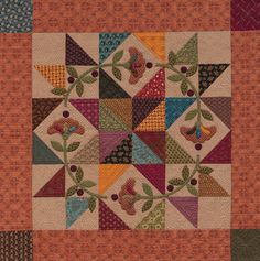 Martingale - Homestyle Quilts Kim Diehl,  Center block for Block of the month at Patches & Stitches Quilt Shop, Huntsville, Alabama, (256) 533-3886