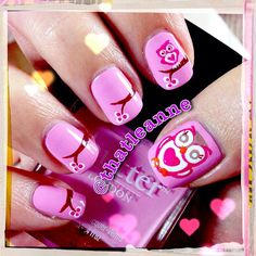 thatleanne: Owl love you forever - cute owl nail art! Nail Art Kawaii, Owl Nail Art, Owl Nails, Funky Nail Art, Crazy Nail Art, Minion Nails, Owl Nail Designs, Spring Nail Trends, Nail Art Pictures