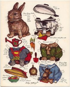 Bunny rabbit paper doll with clothes - for Peter Rabbit?