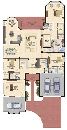 Floorplan - The Belize at Canyon Trails, Boynton Beach, Florida - Model Home Design Master suite layout House Plans Mansion, Dream House Plans, House Floor Plans, My Dream Home, Home Design Plans, Plan Design, House Blueprints, House Layouts, Model Homes