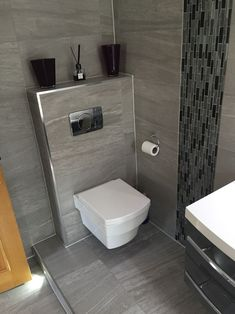 Informationen Über Eck WC The Most Useful Bathroom Shower Ideas There are almost uncountable kinds o Toilet Tiles Design, Small Toilet Design, Small Toilet Room, Small Bathroom, Bathroom Wall, Bathroom Storage, Bathroom Design Luxury, Modern Bathroom Design, Floating Toilet