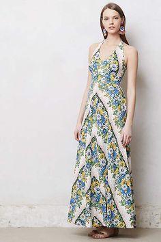 Anropologie Soraya Sunflower Daisies Halter Maxi Dress Size 4 S Postmark #Anthropologie #Maxi #SummerBeach