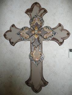 handmade stacked wood crosses