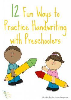 12 Fun Ways to Practice Handwriting with Preschoolers | www.GoldenReflectionsBlog.com